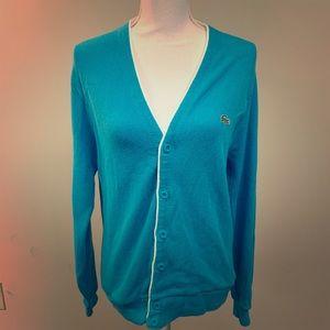 Lacoste Turquoise Cardigan Sweater